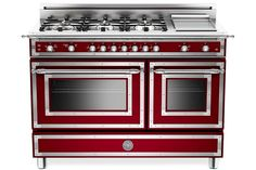 Bertazzoni 48 Inch Traditional-Style Gas Range with 6 Sealed Brass Burners, cu. Main Convection Oven, Manual Clean, Electric Griddle and Storage Compartment: Matte Black, Natural Gas Kitchen Stove, Kitchen Appliances, Kitchen Ranges, Cooking Appliances, 48 Range, 48 Inch Range, Bertazzoni Range, Double Oven Range, Kitchens