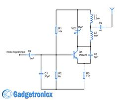 simple mobile jammer circuit circuit diagram circuits and rh pinterest com Simple Electronic Circuits Electronic Circuit Symbols