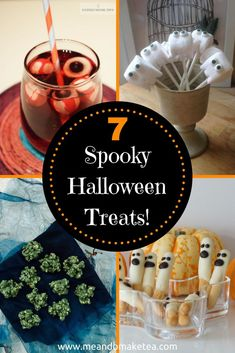 7 Halloween Party Food Ideas in Minutes!    Today on the blog I want to share with you some of my favourite fun food ideas for Halloween. We've madewhite chocolate eyeballsand we madespooky rocky roadbut whatare other bloggers sharing?! There are so many amazing creations out there that I wanted to put together a round up post for you. Saves you having to go off looking ey.