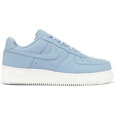 Nike Air Force 1 perforated leather sneakers ($150) ❤ liked on Polyvore featuring shoes, sneakers, nike, blue, shoes - sneakers, blue sneakers, light blue shoes, low profile sneakers, leather trainers and light blue sneakers