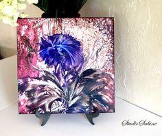 Original ENCAUSTIC PAINTING  semi abstract blue by StudioSabine, $95.00