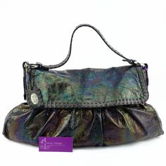 Fendi Bag Metallic Bronze/Purple Color Leather Good Condition Ref.code-(UUSO-9) More Information Pls Email  (- luxuryvintagekl@ gmail.com )