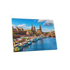 City Skylines 'Elbe River' Gallery Wrapped Canvas Wall Art