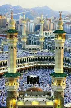 Beautiful place #Mecca Saudi Arabia The Great Mosque of Mecca, also  the Grand Mosque, is the largest mosque in the world and surrounds Islam's holiest place, the Kaaba, in the city of Mecca, Saudi Arabia. Muslims face in the Qiblat while performing Salat. .. May Allah SWT give us all the chance to visit the beautiful city of Mecca.