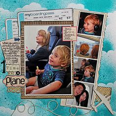 1st Time On A Plane digital scrapbook page