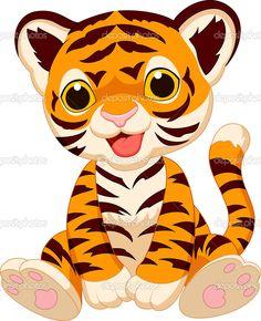 Illustration of Cute tiger cartoon vector art, clipart and stock vectors. Cartoon Tiger, Cute Cartoon Animals, Baby Cartoon, Cartoon Art, Cartoon Drawings, Cute Animals, Tiger Illustration, Clipart Baby, Vector Clipart