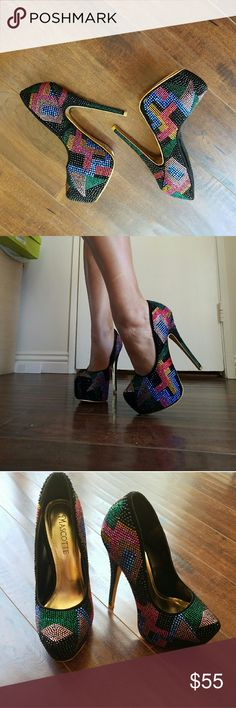 Brand New Bedazzled Sz 7 Heels Super fun and trendy heels,  brand new...bought at boutique. Shoes Platforms