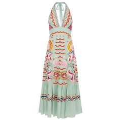 Temperley London Chimera V Neck Midi Dress ($2,295) ❤ liked on Polyvore featuring dresses, celadon mix, midi, summer midi dresses, a line dress, green silk dress, v neck dress and v-neck dresses