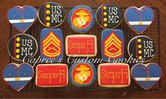 Custom USMC cookies for my brother's going away party. Semper Fi, Dress Blues, Gunnery Sergeant, Eagle, Globe, and Anchor. Decorated with royal icing.