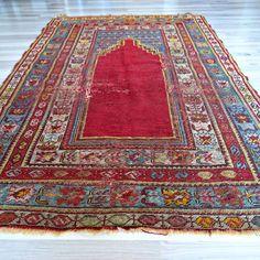 "43.3"" x 65"" Prayer Rug, Antique Red Kilim, Handwoven Wool Turkish Area Rug"