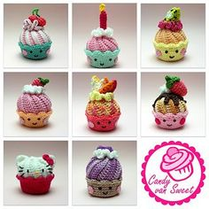 This is the crochet pattern for cupcakes with swirl-frosting. It contains the cake, frosting, cream puff, chocolate and some fruit. And of course some inspiration for more cupcakes.