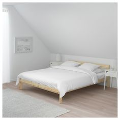 IKEA NEIDEN bed frame Made of solid wood, which is a hardwearing and warm natural material. Cama Ikea, Lit Simple Ikea, Storage Boxes, Storage Spaces, Paint Thinner, Diy Bed Frame, Bed Frames, Bed Slats, Bed Base