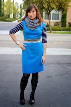 striped tee under a dress.