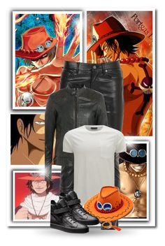 """Portuguese D. Ace"" by bambolinadicarta ❤ liked on Polyvore featuring Yves Saint Laurent, Belstaff, men's fashion, menswear, onepiece, Captain, WhitebeardCrew, LuffyBrother and PortugueseDAce"