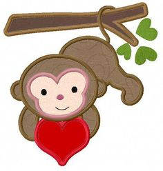 Love monkey applique machine embroidery design by FunStitch, $4.00