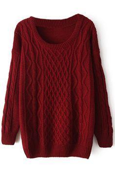 ROMWE   Loose-knit Sheer Wine-red Jumper, The Latest Street Fashion  #ROMWEROCOCO.