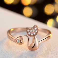 Cute Cat Adjustable ladies Ring //NO extra charges + FREE Shipping //     #fashionaccessories #dealcliff