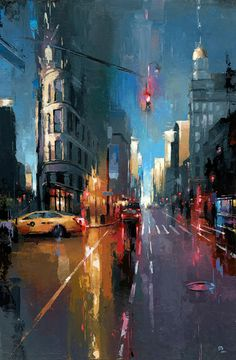 paisaje urbano The Art Of Animation Victor Bauer -. Urban Painting, City Painting, Street Painting, Cityscape Art, City Art, Urban Landscape, Art Inspo, Landscape Paintings, Watercolor Art