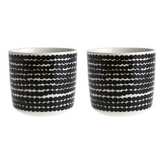Set of 2 Marimekko Siirtolapuutarha Räsymatto Black and White Mugs without Handles