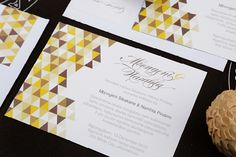 a simple and modern pattern in ethnic earth tones meet traditional wedding calligraphy in this invite