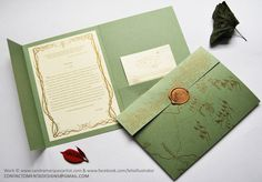 Exlusive Wedding Card work, Done in Rives Linear Desing ice green's paper and Conqueror Concept / Effects Irisdescent Golden Haze 160 grm. Offset Printing in ink, golden brown and sealed with silic...