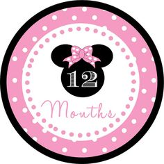Light Pink Minnie Mouse Inspired Monthly by jenniferalisondesign