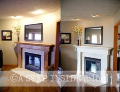 fireplace mantel before & after...painted the mantel June '15.  What a difference!!