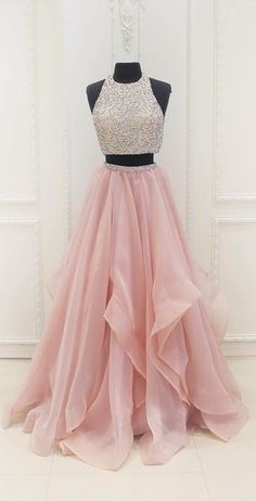 two piece pink long prom dresses, luxury beading graduation party gowns, chic tulle tiered junior prom dresses for teens #dressywomen #pinkpromdresses #2piecedresses