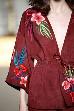 """HANDPICKED """"I always love Matthew's take on florals."""" Fashion editor Deborah Brett makes her edit from the spring/summer 2015 collection - click to read. Detail of the embroidered suede kimono jacket."""