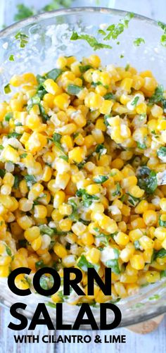 Corn Salad Corn Salad with Cilantro and Lime - Mexican Street Corn Salad skips the taco truck and lands a perfect corn side dish right on your plate. Under 15 minutes for a tangy simple salad that is perfect for pot luck. Mexican Corn Side Dish, Taco Side Dishes, Mexican Street Corn Salad, Dinner Side Dishes, Best Side Dishes, Vegetable Side Dishes, Side Dish Recipes, Food Dishes, Dinner Recipes