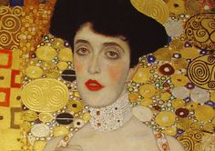 Gustav Klimt- Adele Bloch Bauer - close up of a portion of the painting Gustav Klimt, Art Klimt, Modern Art Paintings, Paintings For Sale, Most Expensive Painting, Woman In Gold, Oil Painting Reproductions, Portraits, Adele