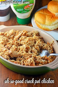 Crock Pot Shredded Chicken- Such a fantastic versatile slow cooker recipe! Serve as sandwiches, use in soups or as tacos! #CrockPot