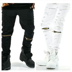 Men Fashion Swag Urban Streetwear Dope Gold Zip Ripped Jeans Monochrome Black White Timberlands Boot Footwear Style Trend