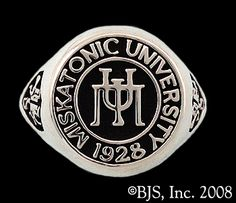 Miskatonic University Class Ring with Necranomicon on sides and HP Lovecraft's initials on inside of ring
