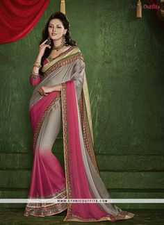 Radiant Chiffon Satin Grey Patch Border Work Designer Saree