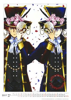 K Return of KingsSuoh Mikoto and Munakata Reisi hold each other's masks in this elaborately costumed poster from Spoon.2Di Vol. 23 (Amazon Japan | eBay), illustrated by character designer Shingo Suzuki (鈴木信吾) and animation director Rina Ueki (植木理奈).