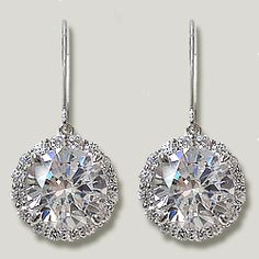 Our Ella Drop Earrings Feature A Eurowire Leverback Top And Gorgeous Round With Halo Of Cubic Zirconia Rounds Available In White Gold