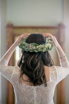 This Charming Wedding Was USDA-Certified Organic #refinery29  http://www.refinery29.com/100-layer-cake/70#slide6  Flower Crown: Stem Floral.