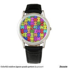 Colorful rainbow jigsaw puzzle pattern watches