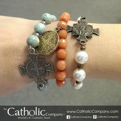 We love these 3 new styles of St. Benedict medal stretch bracelets!