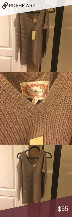 Beige cold shoulder sweater Beige cold shoulder sweater. NWT. other Tops Sweatshirts & Hoodies