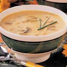 Curried Pumpkin & Mushroom Soup by tasteofhome: Deeply satisfying, and easily made of fresh mushrooms, onion, solid-pack pumpkin, vegetable broth, evaporated milk, curry powder, nutmeg, honey, butter and minced chives. 157 calories/serving. #Soup #Pumpkin #Mushroom #Healthy #tasteofhome.