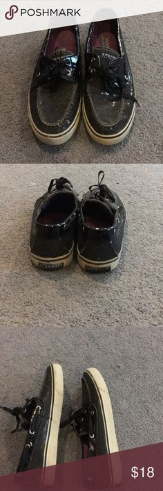 SPERRY women's 7.5 black sequins womens 7.5 sperry roughly used Sperry Shoes Flats & Loafers