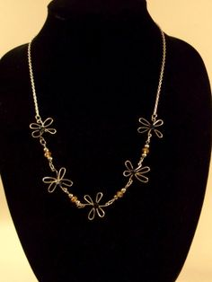 Wire Flower Necklace by BeadJewelledDesign on Etsy, $19.99
