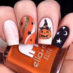 Holloween Nails, Cute Halloween Nails, Halloween Acrylic Nails, Fall Acrylic Nails, Halloween Nail Designs, Autumn Nails, Acrylic Nail Designs, Halloween Ideas, Vintage Halloween