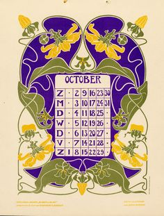 Bloem en blad (Flower and leaf)… Creative Calendar, Art Calendar, Calendar Girls, Vintage Cards, Vintage Images, Illustrations, Illustration Art, Art Nouveau Pattern, Vintage Calendar