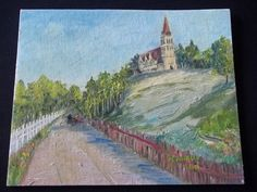"""Vintage 60's Oil Painting Road Sundsvall Sweden signed Church on hill 8 x 10 """" #Impressionism"""