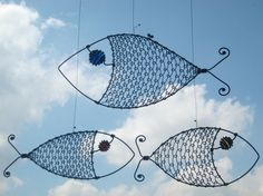 Metal Sculpture / Three Wire Fish by MyWireArt on Etsy