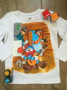 """Купить Детский лонгслив """"Простоквашино"""" - белый, рисунок на ткани, рисунок на заказ, рисунок на футболке"""