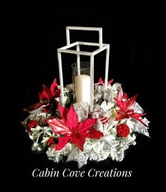 Christmas Lantern Centerpiece red white silver Holiday Floral Arrangement Winter Wonderland w Lights CUSTOM Designs by Cabin Cove Creations Lighted Centerpieces, Holiday Centerpieces, Christmas Lanterns, Christmas Wreaths, Christmas Ideas, Holiday Candles, Handmade Christmas Decorations, Silver Christmas, Floral Arrangements